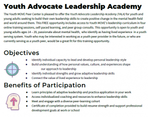 Youth Advocate Leadership Academy The Youth MOVE Peer Center is pleased to offer the Youth Advocate Leadership Academy (YALA) for youth and young adults seeking to build their own leadership skills to create positive change in the mental health field and world around them. This FREE opportunity includes access to Youth MOVE's leadership curriculum in four online training sessions, self-paced learning, and peer group consults. This opportunity is open to youth and young adults ages 14 – 29, passionate about mental health, who identify as having lived experience in a youth serving system. Youth who may be interested in working as a youth peer provider in the future, or who are currently serving as a youth peer, would be a great fit for this training opportunity. Objectives ● Identify individual capacity to lead and develop personal leadership style ● Build understanding of how personal values, culture, and experiences shape our approach to leadership ● Identify individual strengths and grow adaptive leadership skills ● Connect the value of lived experience to leadership Benefits of Participation ● Learn principles of adaptive leadership and practice application in your work ● Access individualized coaching and resources to enhance leadership skills ● Meet and engage with a diverse peer-learning cohort ● Certificate of completion provided to build resume strength and support professional development goals at work or school