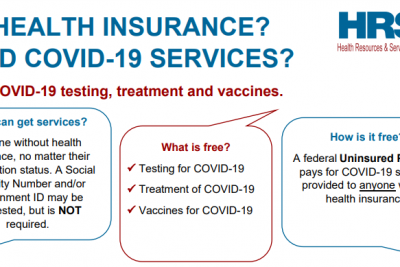 NO HEALTH INSURANCE? NEED COVID-19 SERVICES? Free COVID-19 testing, treatment and vaccines. Who can get services? Anyone without health insurance, no matter their immigration status. A Social Security Number and/or government ID may be requested, but is NOT required.What is free? Testing for COVID-19 Treatment of COVID-1 Vaccines for COVID-1   9  9How is it free? A federal Uninsured Program pays for COVID-19 services provided to anyone without health insurance.
